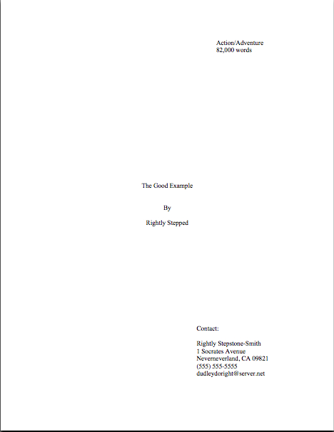 screenplay title page
