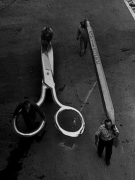 giant scissors, pencil